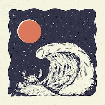 Cranio di scheletro dell'illustrazione dell'illustrazione della mano, il concetto dallo scheletro che pratica il surfing sulla grande onda con i grandi granchi.