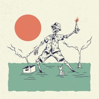 Cranio di scheletro dell'illustrazione dell'illustrazione della mano, il concetto dallo scheletro con l'illustrazione divertente ubriaca delle bottiglie.