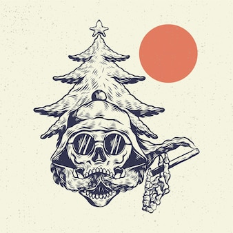 Cranio di scheletro dell'illustrazione del disegno della mano, il concetto dalla testa del cranio con lo svapo di stile delle nuvole di fumo.