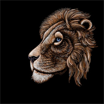 Mano disegno profilo testa di leone
