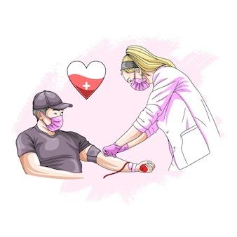 Disegno a mano di un uomo che dona il sangue per la giornata mondiale umanitaria 1