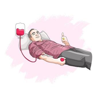 Disegno a mano di un uomo che dona il sangue per la giornata mondiale umanitaria 2 Vettore Premium