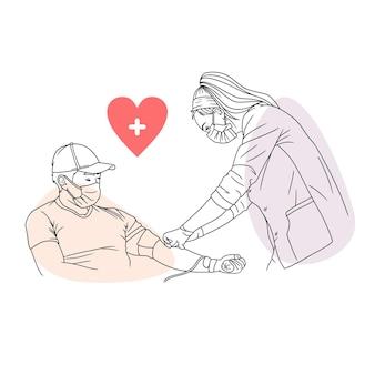 Disegno a mano di un uomo che dona il sangue per la giornata mondiale dell'umanità in stile art line 1