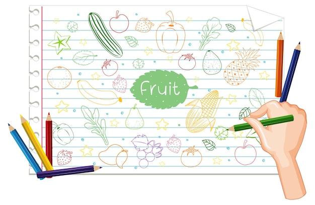 Mano che disegna molti frutti scarabocchio su carta