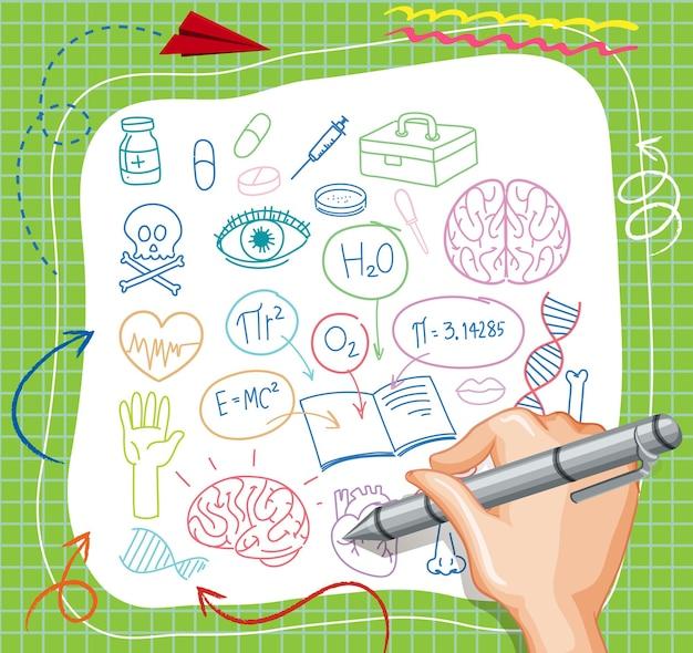Doodle di elemento di scienza medica disegno a mano su carta