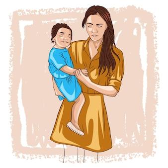 Disegno a mano della madre che tiene in braccio il suo bambino per la festa della mamma a