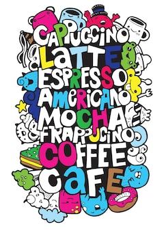Disegnare a mano nomi di popolari bevande al caffè con mostri