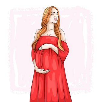 Disegno a mano di una madre incinta per la festa della mamma b