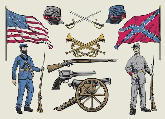 Set di disegni a mano di oggetti della guerra civile americana