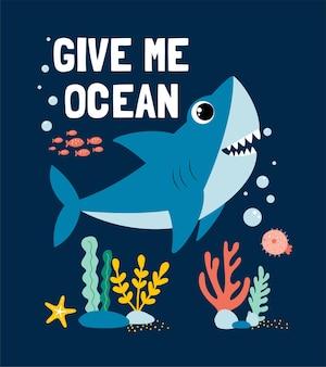 Disegno a mano disegno di stampa di squalo disegno di illustrazione vettoriale per tessuti di moda grafica tessile p