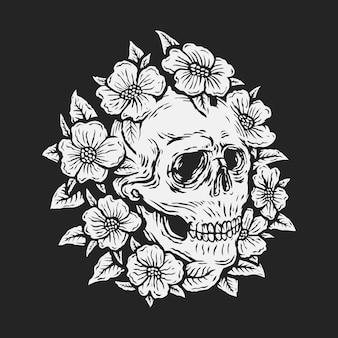 Cranio del disegno della mano circondato dall'illustrazione di vettore del fiore di rosa