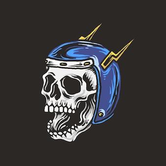 Teschi di disegno a mano che indossano casco da motociclista