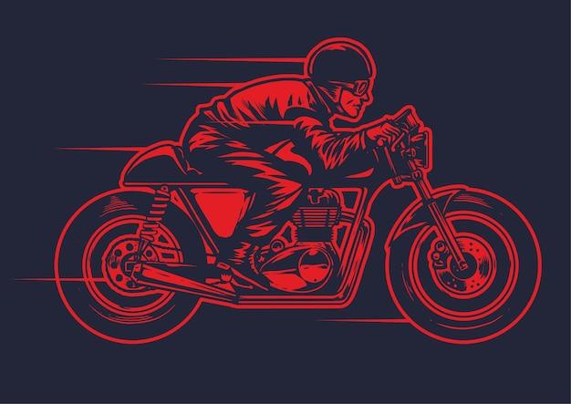 Disegno della mano di piccola guida vecchia moto cafe racer
