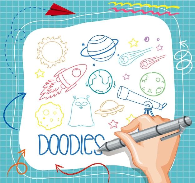 Doodle elemento spazio disegno a mano su carta