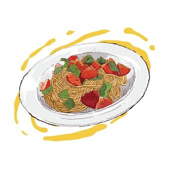 Disegno a mano di spaghetti e condimento di verdure e carne