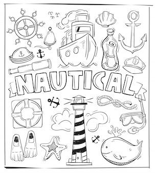 Simbolo del disegno a mano e oggetto del set di elementi nautici