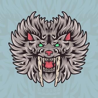 Illustrazione della mascotte di logo della tigre del disegno della mano