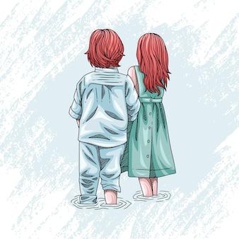 Disegno a mano di due bambini carini per la giornata mondiale dei bambini 1