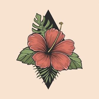 Mano che disegna l'illustrazione d'annata del fiore di aloha