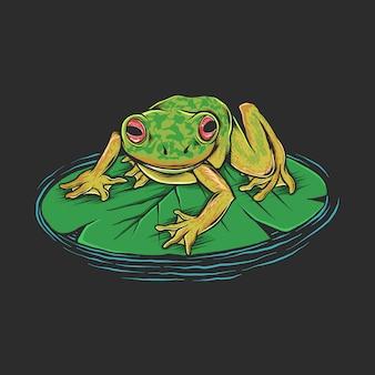 Mano che disegna l'illustrazione d'annata della rana