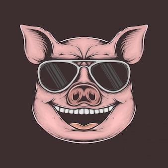 Mano che disegna l'illustrazione funky d'annata di vettore del maiale