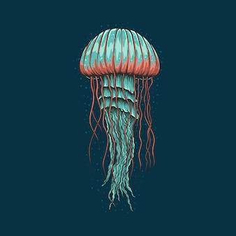 Illustrazione d'annata delle meduse del disegno della mano