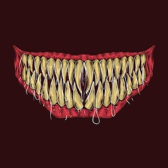 Mano che disegna l'illustrazione d'annata dei denti del mostro