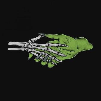 Stretta di mano di scheletro d'annata del disegno della mano con l'illustrazione della strega