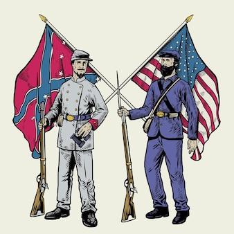 Disegno a mano soldato della guerra civile americana in stile vintage con bandiere