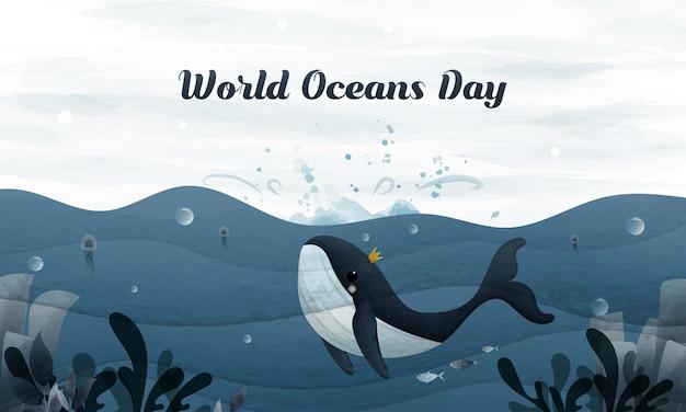 Passi il disegno della balena d'annata e del bambino saltano al cielo nel giorno dell'oceano del mondo.