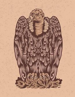 Illustrazione isolata dell'uccello dell'avvoltoio del disegno della mano