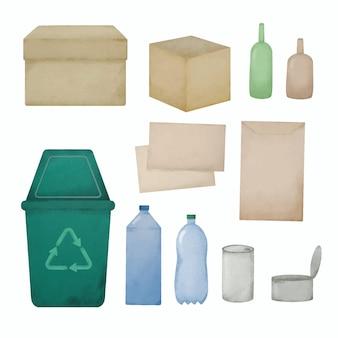Acquerello di disegno a mano di materiali riciclati in plastica