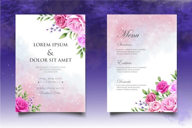 Mano disegno invito a nozze floreale e foglie modello di carta