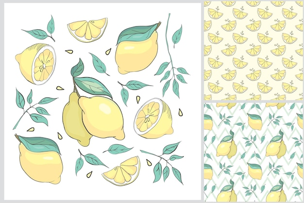 Set estivo a mano con limone.