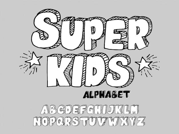 Bambini disegnati a mano font 3d
