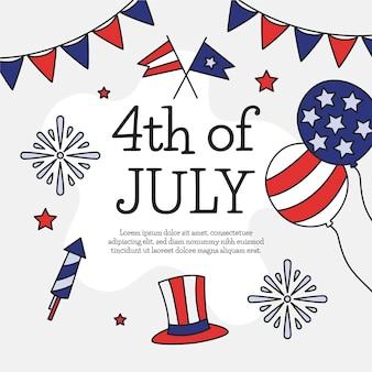 Illustrazione disegnata a mano del 4 luglio del giorno dell'indipendenza