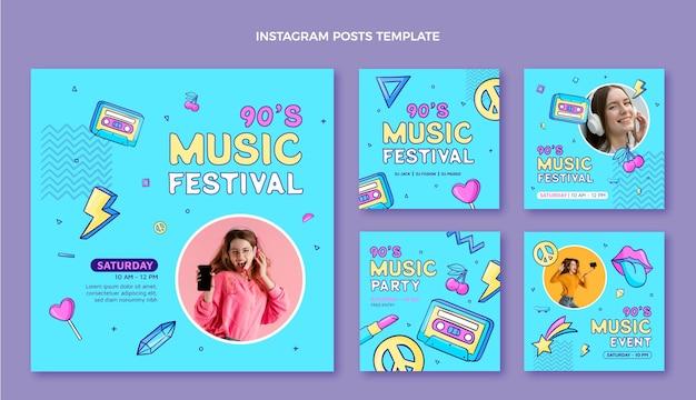 Post di instagram del festival musicale degli anni '90 disegnati a mano