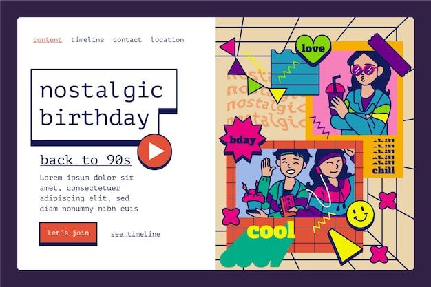 Pagina di destinazione del compleanno nostalgico anni '90 disegnata a mano