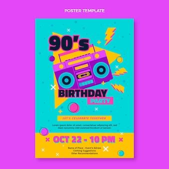 Poster di compleanno nostalgico anni '90 disegnato a mano