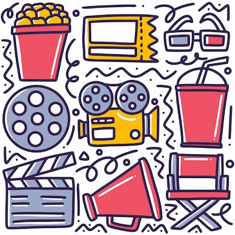 Disegnato a mano sul cinema doodle impostato con icone ed elementi di design