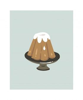 Fumetto astratto disegnato a mano tempo di cottura divertente icona illustrazioni con la torta di budino sul basamento della torta isolato su bianco