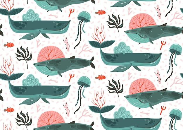Disegnato a mano fumetto astratto grafico estate tempo subacqueo oceano fondo illustrazioni seamless pattern con barriere coralline, grandi balene di bellezza, alghe isolate su priorità bassa bianca.