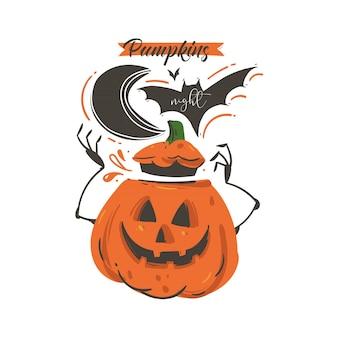 Fumetto astratto disegnato a mano happy halloween illustrazione con pipistrello, zucca, luna e moderna fase calligrafica notte di zucche su sfondo bianco.