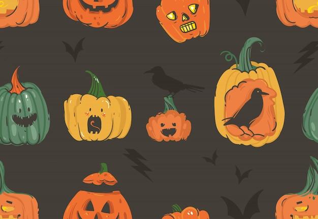 Disegnato a mano fumetto astratto happy halloween illustrazioni seamless pattern con zucche emoji cornuti lanterne mostri, pipistrelli e corvi su sfondo bianco.