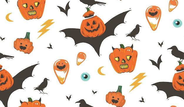 Fumetto astratto disegnato a mano happy halloween illustrazioni seamless pattern con corvi, pipistrelli, zucche e calligrafia moderna su sfondo bianco.