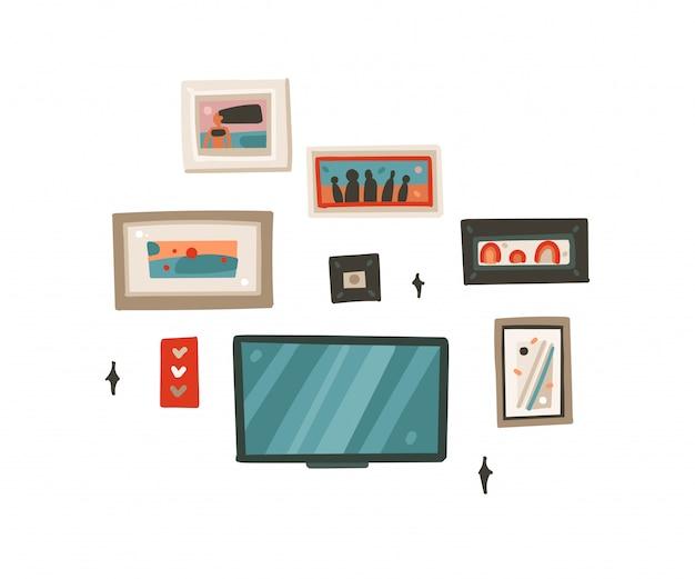 Insieme di raccolta delle immagini delle strutture moderne del fumetto astratto disegnato a mano e tv sull'arte delle illustrazioni della parete su fondo bianco