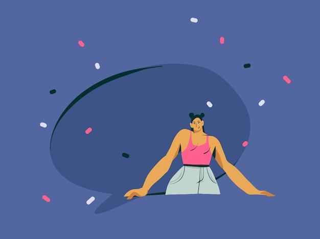 Arte moderna dell'illustrazione del carattere della ragazza dell'influencer del fumetto astratto disegnato a mano con il fumetto dello spazio della copia sul fondo di colore
