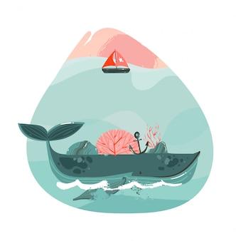 Disegnata a mano cartoon astratto tempo estivo illustrazioni grafiche arte modello stampa logo sfondo con bellezza grande balena, vela e copia spazio sfondo per il tuo testo isolato su bianco