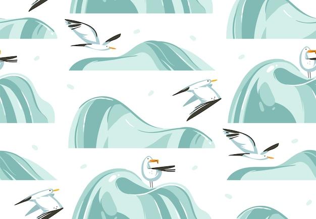 Modello senza cuciture artistico delle illustrazioni grafiche dell'ora legale del fumetto astratto disegnato a mano con gli uccelli di gabbiani di mare di volo sulla spiaggia su fondo bianco