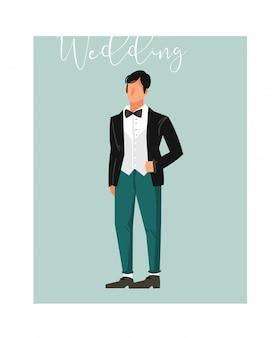 Elemento astratto disegnato a mano dell'illustrazione dello sposo di nozze del fumetto su fondo blu